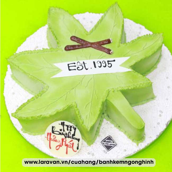 Bánh kem sinh nhật tạo hình 3d độc lạ chiếc lá