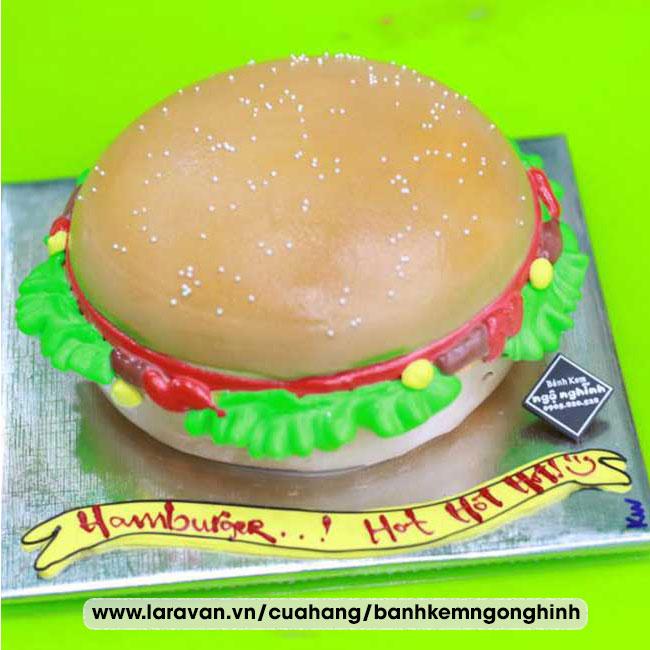 Bánh kem sinh nhật tạo hình 3d độc lạ bánh humberger
