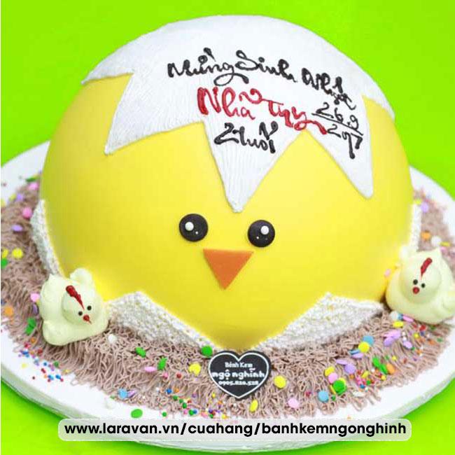 Bánh kem sinh nhật tạo hình 3d độc lạ trứng gà nơ