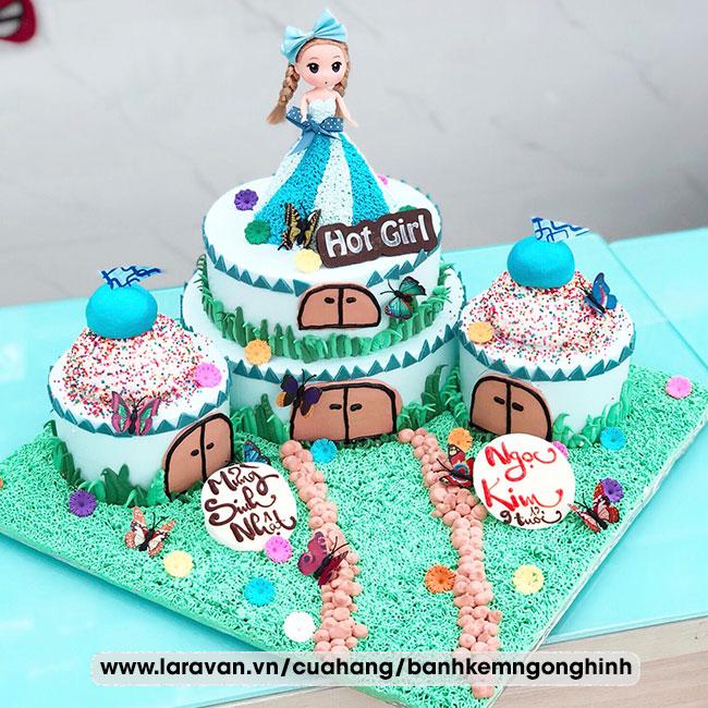 Bánh kem sinh nhật tạo hình lâu đài bé gái đẹp