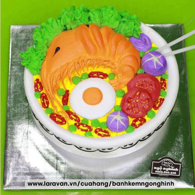 Bánh kem sinh nhật tạo hình 3d tôm mì tôm độc lạ