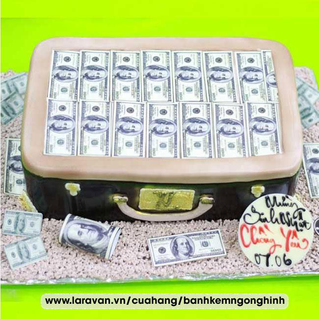 Bánh kem sinh nhật tạo hình vali tiền đôla