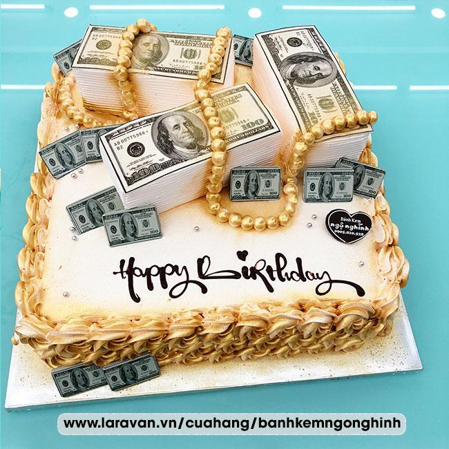 Bánh kem sinh nhật tạo hình tiền đôla
