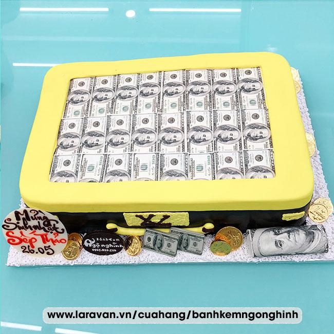 Bánh kem sinh nhật tạo hình vali tiền đô