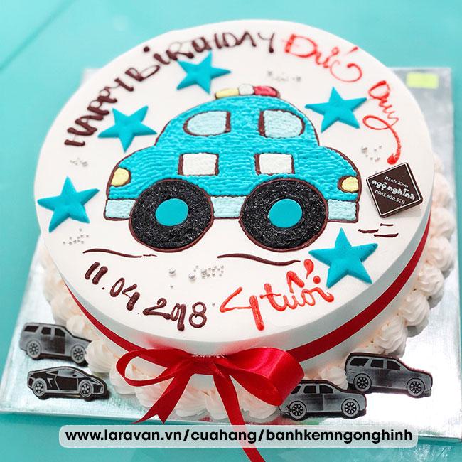 Bánh kem sinh nhật vẽ hình xe cảnh sát