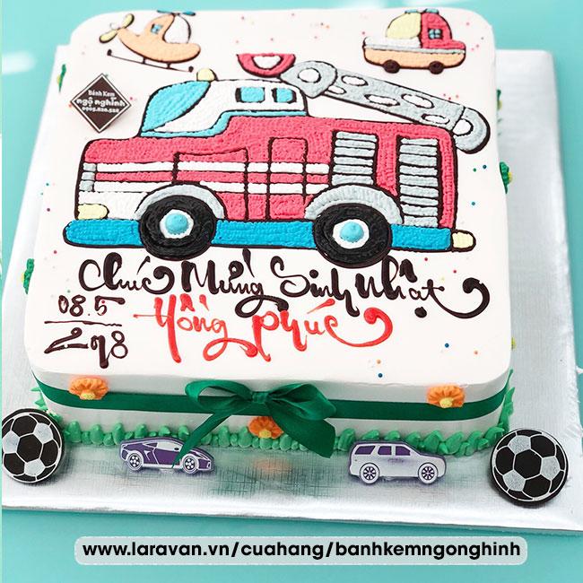 Bánh kem sinh nhật tạo hình 3d xe cứu hỏa