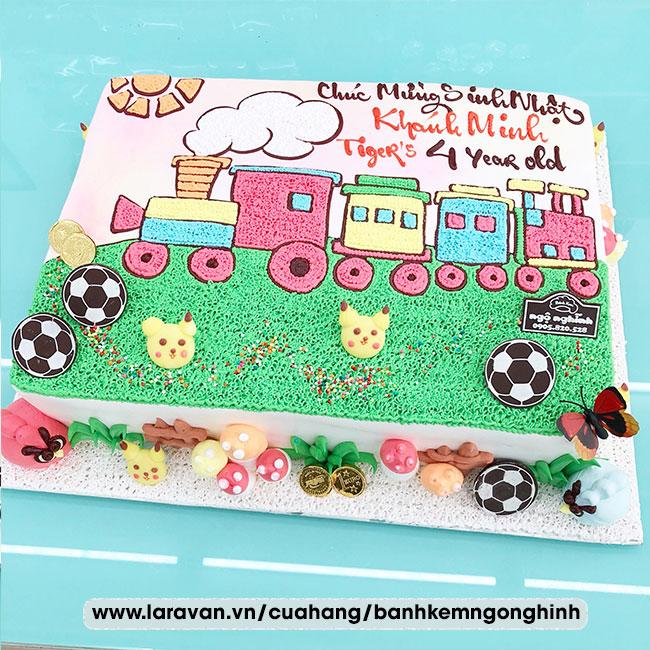 Bánh kem sinh nhật vẽ hình tàu lửa