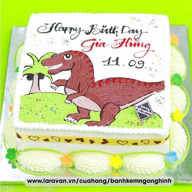 Bánh kem sinh nhật vẽ hình khủng long