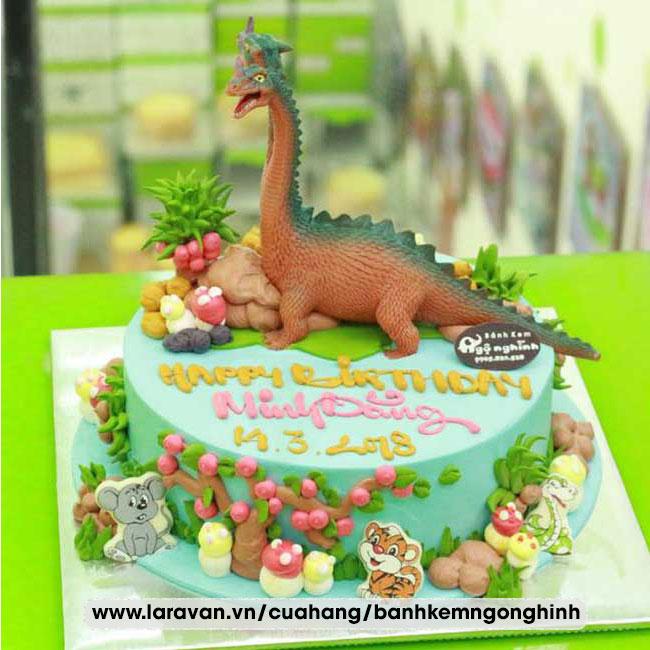 Bánh kem sinh nhật bắt hình khủng long