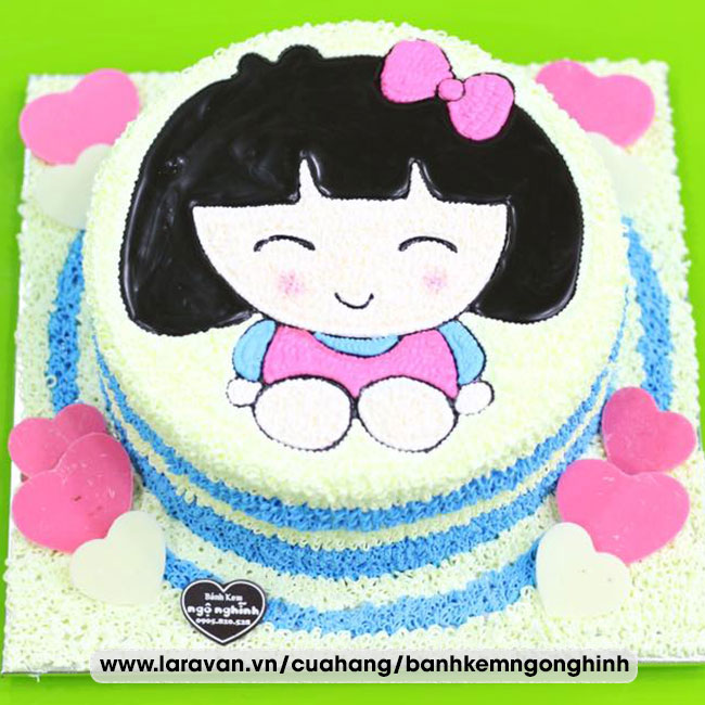 Bánh kem sinh nhật vẽ hình bé gái tóc socola nguyên chất