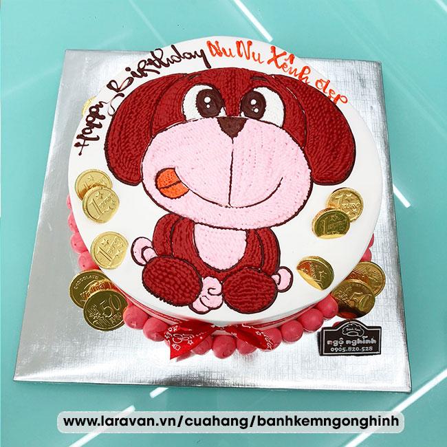 Bánh kem sinh nhật vẽ hình chú chó ngộ nghĩnh