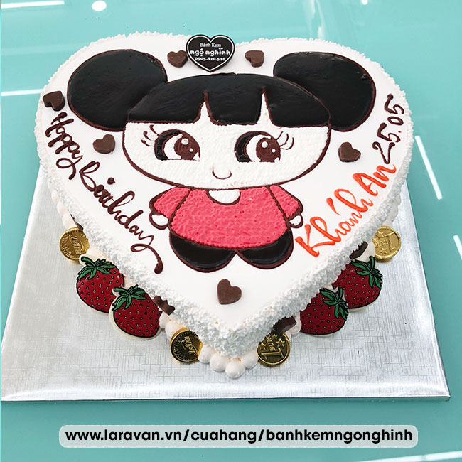 Bánh kem sinh nhật vẽ hình cô gái nhỏ tóc socola nguyên chất