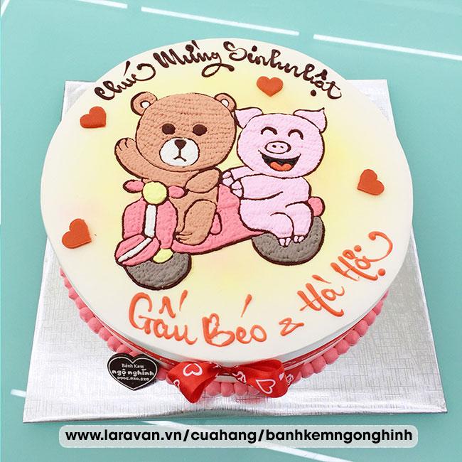 Bánh kem sinh nhật vẽ hình chú gấu và heo con bé nhỏ