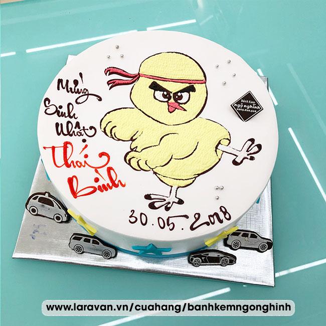 Bánh kem sinh nhật vẽ hình chú gà con đáng yêu