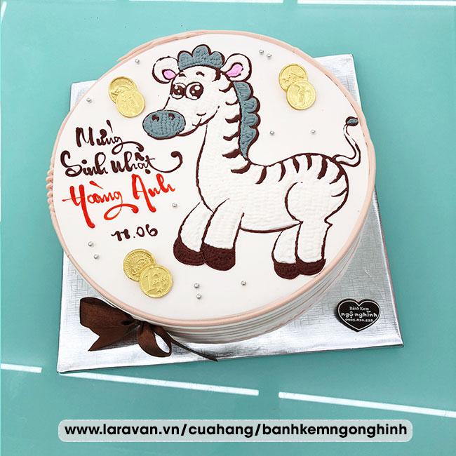 Bánh kem sinh nhật vẽ hình chú ngựa vằn dễ thương