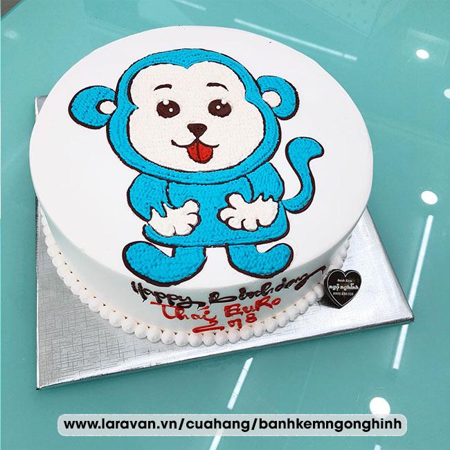 Bánh kem sinh nhật vẽ hình chú khỉ tinh nghịch