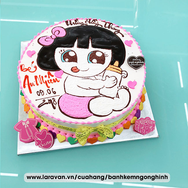 Bánh kem sinh nhật vẽ hình bé gái nhỏ dễ thương