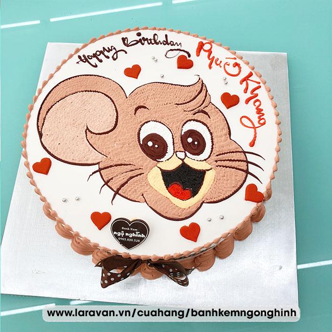 Bánh kem sinh nhật vẽ hình chú chuột jerry siêu quậy