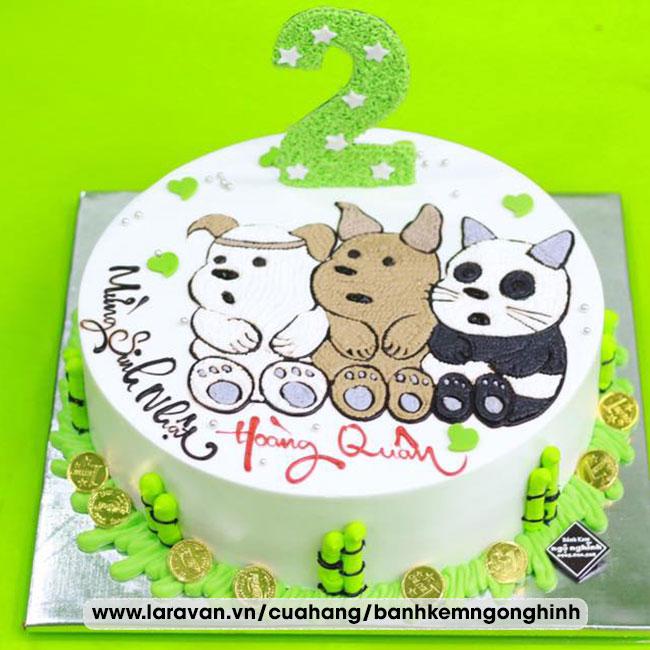 Bánh kem sinh nhật vẽ hình ngộ nghĩnh đáng yêu