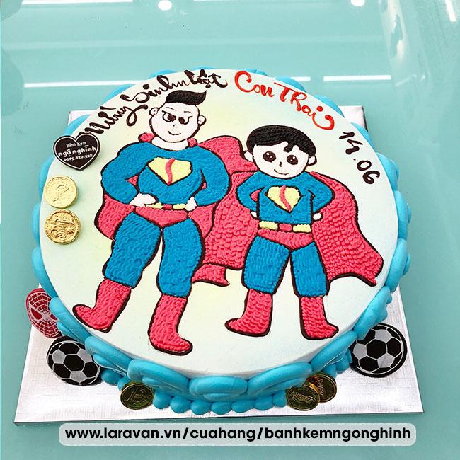 Bánh kem sinh nhật vẽ hoạt hình 2 anh em siêu nhân