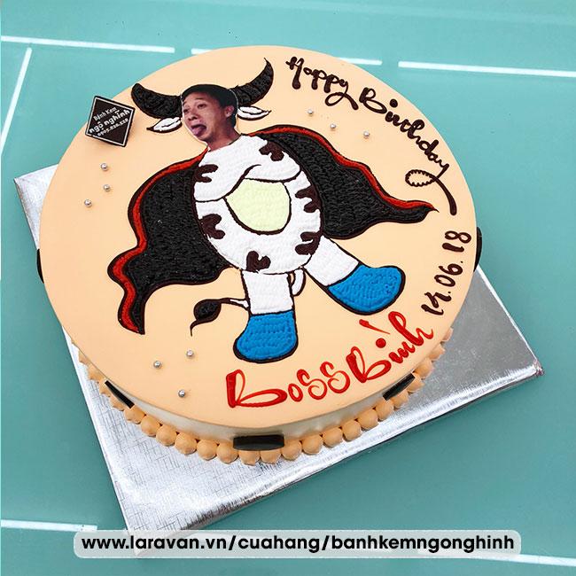 Bánh kem sinh nhật vẽ hoạt hình chú bò sữa ngộ nghĩnh