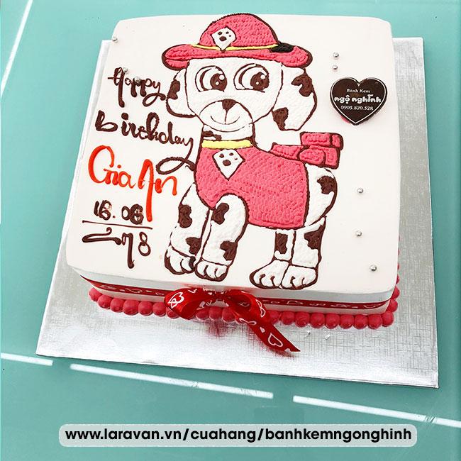 Bánh kem sinh nhật vẽ hoạt hình chú chó đốm dễ thương