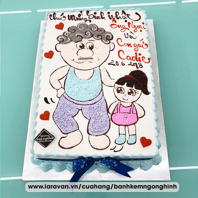 Bánh kem sinh nhật vẽ hoạt hình ông và cháu gái dễ thương
