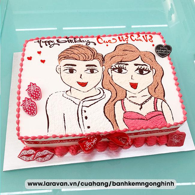 Bánh kem sinh nhật vẽ hoạt hình nam và nữ dễ thương