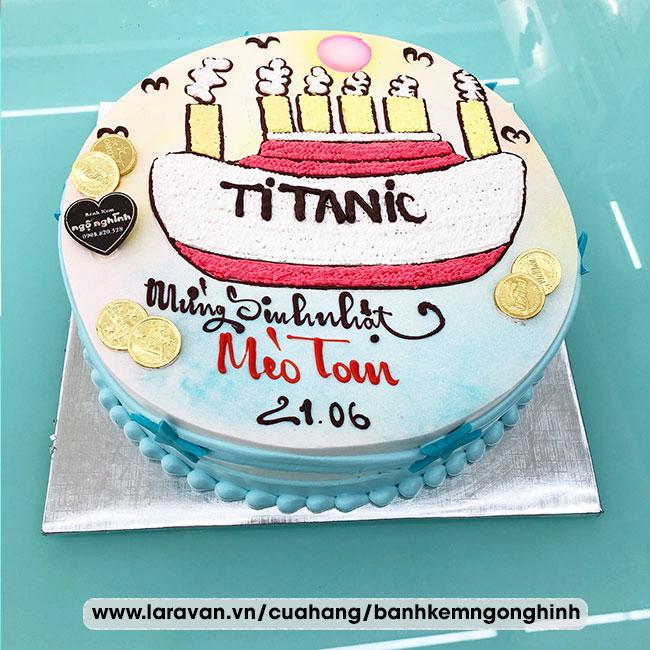 Bánh kem sinh nhật vẽ hoạt hình con tàu titanic huyền thoại