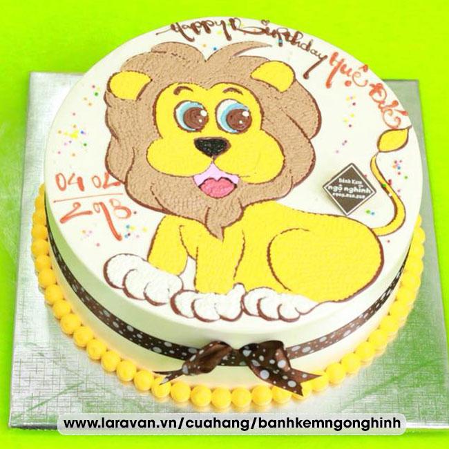 Bánh kem sinh nhật vẽ hình vua sư tử đáng yêu