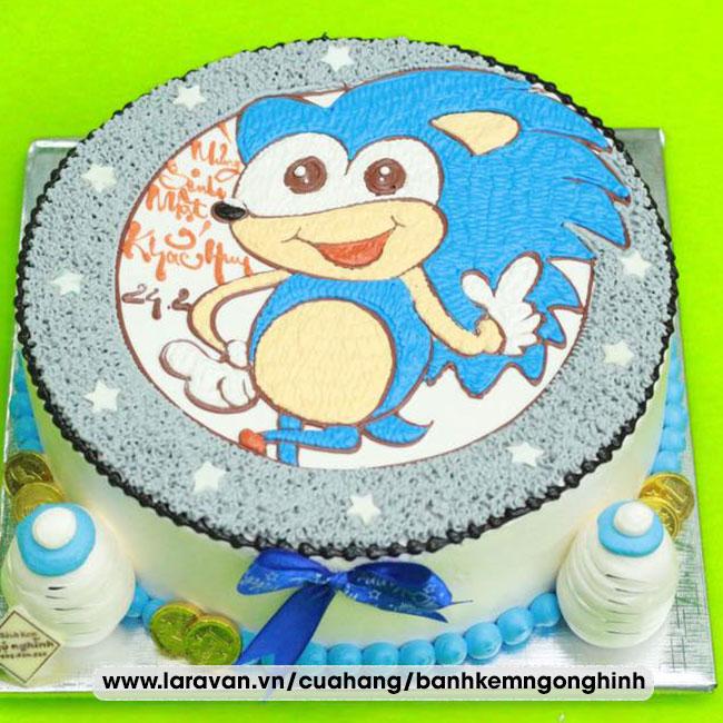 Bánh kem sinh nhật vẽ hình hoạt hình sonic tinh nghịch