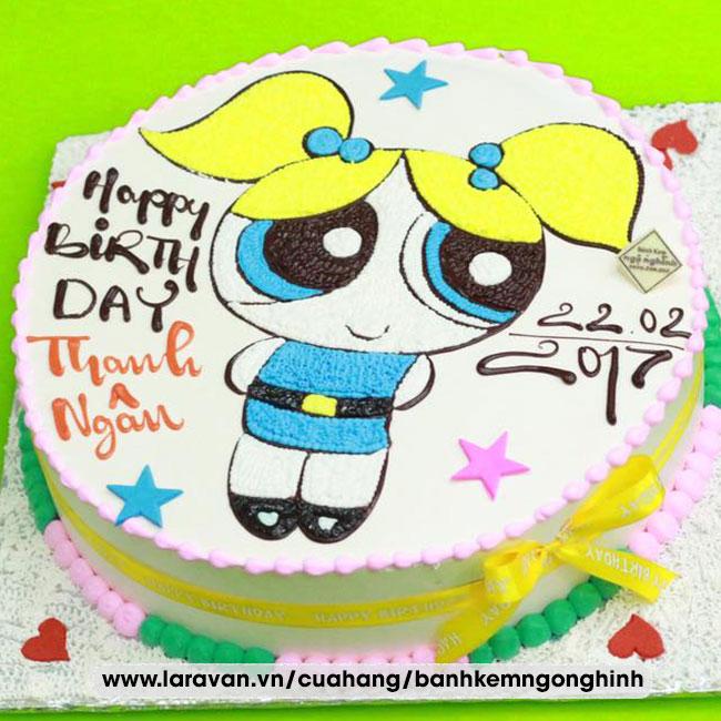 Bánh kem sinh nhật vẽ hình hoạt hình cô bé đáng yêu