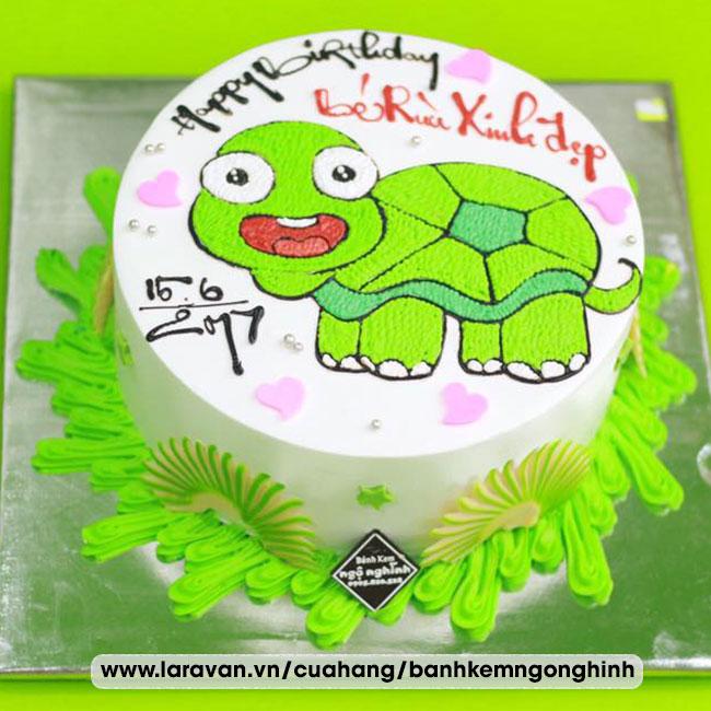 Bánh kem sinh nhật vẽ hình chú rùa xanh dễ thương