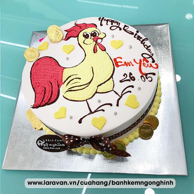 Bánh kem sinh nhật vẽ hình chú gà đáng yêu