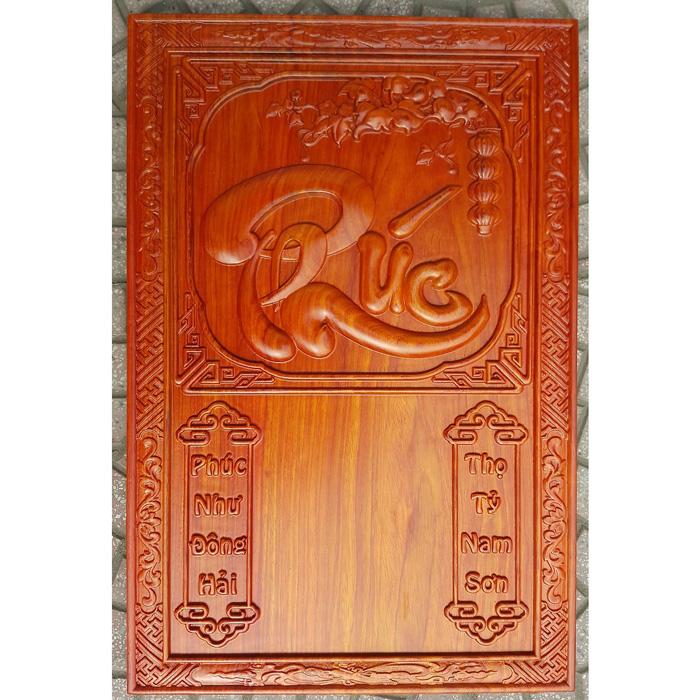 Đốc lịch gỗ hương liền tấm, chữ Phúc