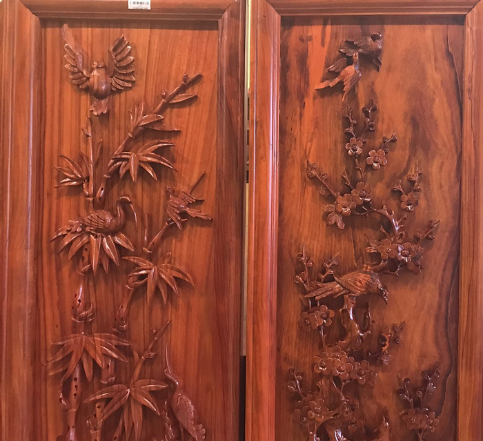 Tranh tứ quý gỗ hương huyết